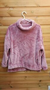 Ladies Pink Soft Thick Fleece Roll Neck Lounge Jumper Size S 10-12 John Lewis