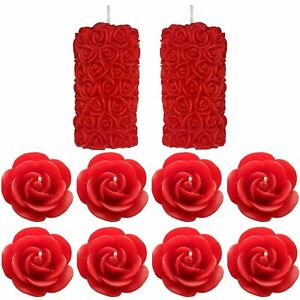 Rose Pillar & Floating Rose Wax Scented Candle Pack of 10