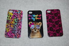iPhone 4 /4S Hard Case 3 LOT Leopard Spot MAGENTA LACE FLOWERS Cat Sunglasses