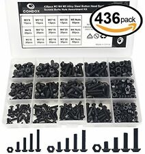 Comdox 436 Pcs M3 M4 M5 Button Head Hex Socket Cap Screws Bolts Nuts Assortment