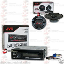 """JVC KD-R370 1DIN CAR AUDIO CD MP3 AUX STEREO WITH 6.5"""" 2-WAY CAR AUDIO SPEAKERS"""