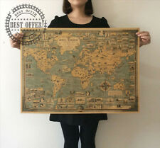 Large Poster Vintage Retro Paper World Map globe earth Wall Chart Home Decor A2