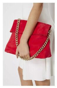 Karen Millen Suede Regent Chain Bag Pink NWT