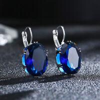 Big Oval Cut Blue Sapphire Topaz Ear Stud Clip Crystal Zircon Hoop Earrings