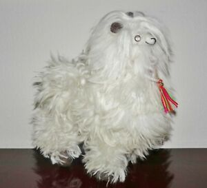 "Handmade 11"" White Alpaca Llama Real Fur Wool Figure Toy Animal (from Peru)"