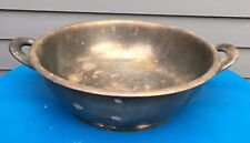 Vintage USN navy silver soldered casserole two handled serving dish WWII tarnish