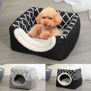 Pet Dog Cat Dual Function Bed House Soft Mat Igloo Basket Bedding Kennel Warm XL