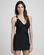 $188 SPANX Slimming Tummy Control Grecian Goddess Swimdress Black Swimsuit 6 B C