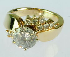 Ladies 1 1/4CT 14K Yellow Gold Round Diamond Solitaire Engagement Estate Ring