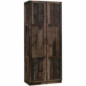 Sauder Select 2 Door Wooden Storage Cabinet in Reclaimed Pine