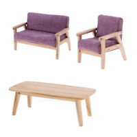 Sofa Chair Tea Table Miniature Set 1/12 Dollhouse Furniture Model Toys #2