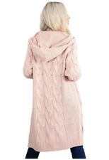 Womens Chunky Cable Knit Oversized Long Hooded Cardigan Pockets Coatigan