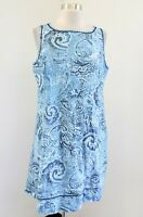 J Jill Love Linen Blue Paisley Print Sleeveless Shift Dress Size PM MP Casual