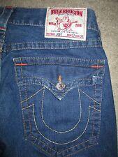 True Religion Joey Row 32 Seat 33 Flap Pocket Flare Dark Blue Denim Womens Jeans