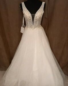BRAND NEW WITH TAGS SIZE 8 SUPER SPARKLY BEADED BODICE WEDDING DRESS RRP £599