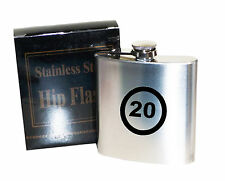 20 anÄos de edad límite de velocidad 6 Oz Acero Inoxidable Hip Flask-grabadas con láser