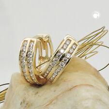 375 Gelbgold Ohrringe Creolen Creole doppelreihig Zirkonia 9Kt GOLD Goldcreolen