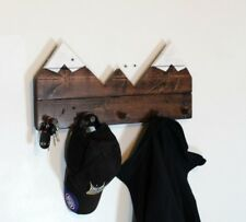 Snow capped mountain coat rack, rocky hill scenic view jacket organizer mahogany