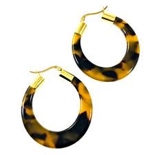 Tortoise Shell Hoop Earrings Gold Tone Snap Closures