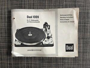 Dual 1009 Plattenspieler Original Anleitung