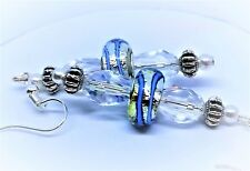 MURANO GLASS LAMPWORK CRYSTAL DANGLE SILVER EARRINGS