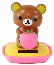 Rilakkuma Brown Bear Eating an Apple Japan Figure Solar Toy Gift USA Seller