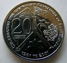 **2001 A.C.T.  UNCIRCULATED 20 cent Centenary of Federation coin from part set!*