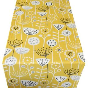 Scandi Style Geometric Floral Print Table Runner. Mustard ochre yellow & Grey.