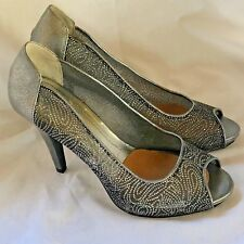 Style & Co Womens Open Toe Sparkly Silver High Heels Open Toe Size 8M