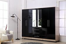 Gloss Black Large Wardrobe With 3 Drawers & Long Mirror