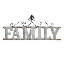 Family Sign Metal and Wood Hanging Interior Wall Art Home Decor