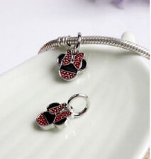 MINNIE MOUSE DANGLE CHARM BEAD FOR BRACELET NECKLACE. SILVER PLATED