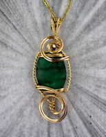 Emerald Gemstone Pendant Necklace in 14kt Rolled Gold Setting