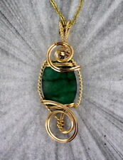 Emerald Gemstone Pendant Necklace in 14kt Rolled Gold Setting Wire Wrapped