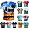 Mens/Womens 3D Hawaii Scenery Print T-Shirt Summer Casual Short Sleeve Tops Tees