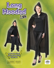 Halloween Long Black Hooded Cloak Cape Long Vampire Unisex Fancy Dress Accessory
