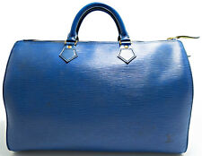 Louis Vuitton EPI Speedy 35 Borsa Bag senza tempo Boston elegante BLUE BLU AZUR
