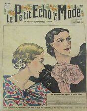 LE PETIT ECHO DE LA MODE N° 35 de 1935 GRAVURE VINTAGE  FLEURS DANS LES CHEVEUX