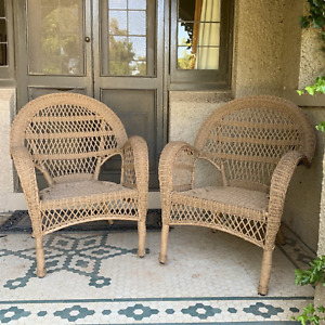 SET 2 Province Polyethylene Cane Wicker Natural Color Weatherproof Outdoor Chair