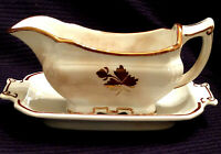 ANTIQUE ROYAL IRONSTONE CHINA GRAY BOAT AND DRIP PLATE ALFRED MEAKIN ENGLAND (TE