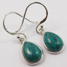 925 Solid Sterling TURQUOISE (S) Pear Gemstones Silver Fashion Little Earrings