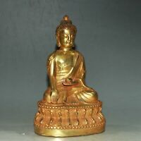 "6.1"" Collect China Bronze Gilding Buddhism Sakyamuni Buddha Amulet Statue"