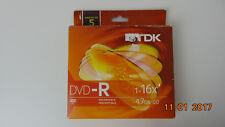 TDK recordable -inscriptible  DVD-R, 4.7GB/GO Minutes 5 Pack