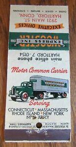 TRUCK: WOOSTER EXPRESS (HARTFORD, CONNECTICUT) 1940s MATCHBOOK MATCHCOVER -F27