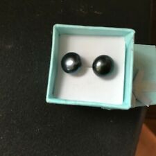 Genuine Natural Black 12mm Pearl .925 Sterling Stud & Sterling Back Earrings