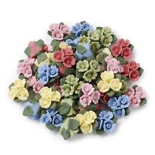 50 Handmade Porcelain 3D Flower Cabochons Self-Adhesive Tiles Colorful 19~20mm