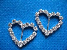 "*New* 10 Heart Rhinestone 3/8"" Ribbon Sliders Buckles RA025-1"