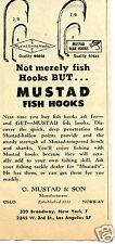 1960 O. Mustad & Son Beak & Viking Fish Hooks Fishing Print Ad