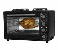 30l Mini Electric Oven 2 Hot Plate Convection Grill Hob Rotisserie Table Top
