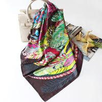 100% Silk Scarf Bandana Fashion Aztec Tribal Style Feather Print Shawl 90*90cm